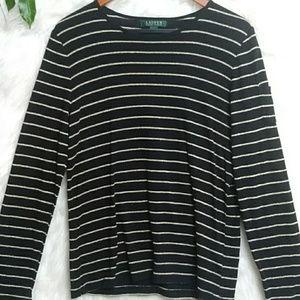 New LAUREN RALPH LAUREN Long Sleeve T-Shirt E22